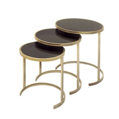 3 Piece Nesting Tables Color: Black / Gold