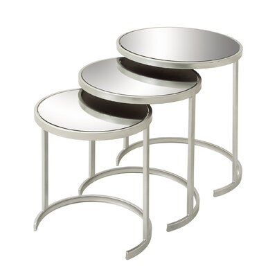 3 Piece Nesting Tables Color: Silver