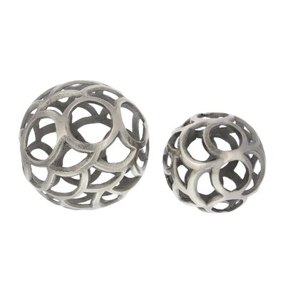 Aluminum 2 Piece Sphere Sculpture Set Color: Metallic Gray 53461