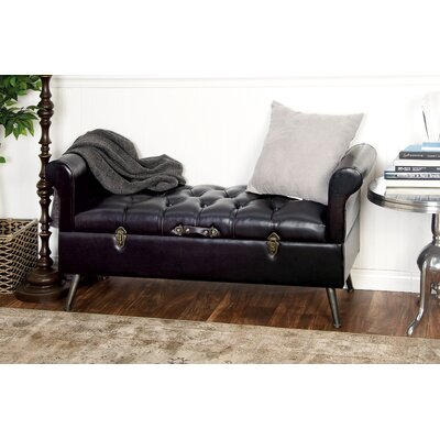 Wood and Leather Storage Bench 55790