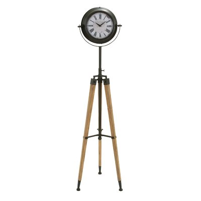"Metal and Wood Tripod 62"" Floor Clock 55860"