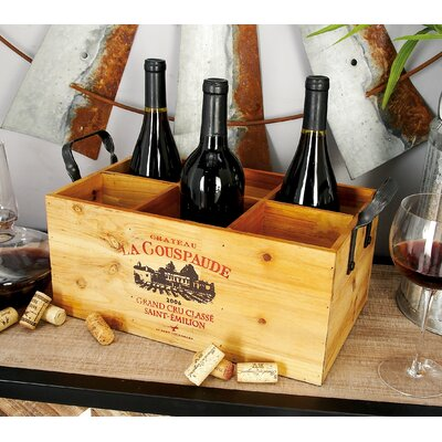Wood Metal 6 Bottle Tabletop Wine Bottle Rack