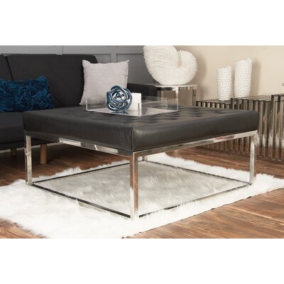 Stainless Steel and Leather Coffee Table Top Color: Black