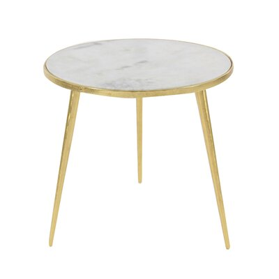 Marble End Table Table Base Color: Gold