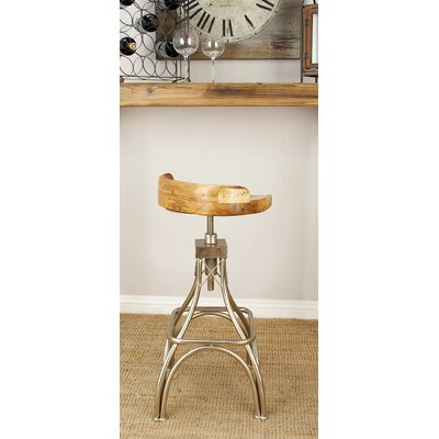 Adjustable Height Bar Stool Finish: Brown