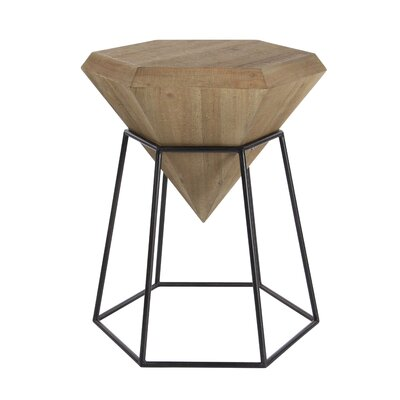 Metal Diamond End Table Table Top Color: Stained Brown