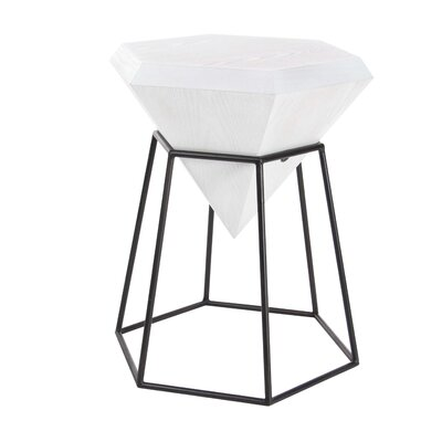 Metal Diamond End Table Table Top Color: Matte White
