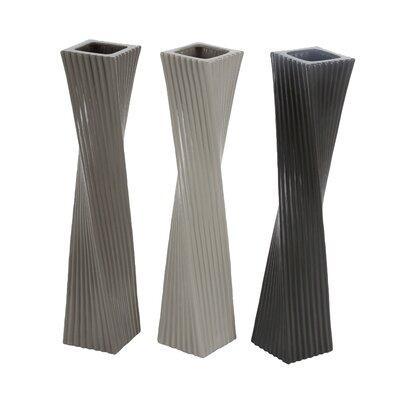 "Ceramic Floor Vase Color: Dark Grey/Medium Grey/Light Grey, Size: 20"" H x 4"" W x 4"" D 87717"
