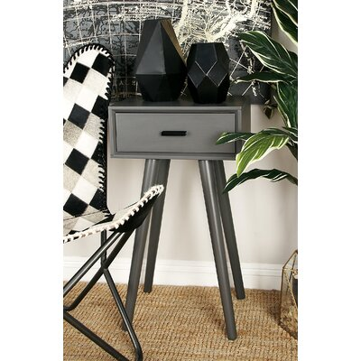 Wood End Table With Storage Color: Matte Gray