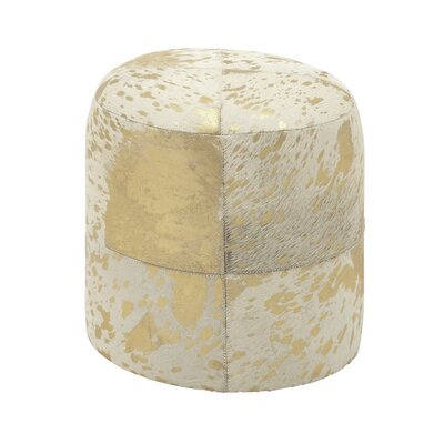 Leather Pouf Upholstery: Gold/White