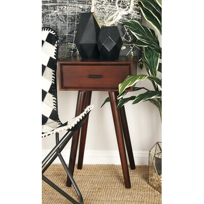 Wood End Table With Storage Color: Matte Brown