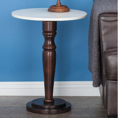 Wood/Marble End Table Color: Brown