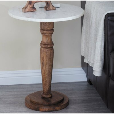 Wood/Marble End Table Color: Light Brown