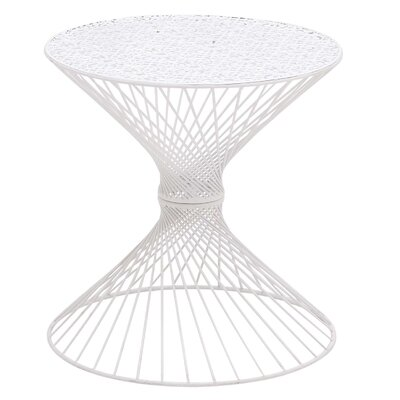 Circle Top End Table Color: White