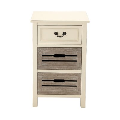 3 Drawer Nightstand Color: Gray