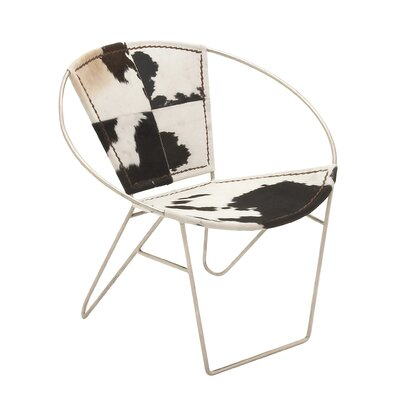 Hide Barrel Chair Upholstery: Black/White