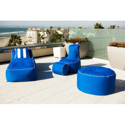 Sunbrella Bean Bag Set Upholstery: Pacific Blue