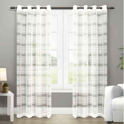 Exclusive Home Striped Sheer Grommet Curtain Panels EH8047-01 2-84G