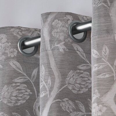 Lamont Floral/flower Room Darkening Grommet Curtain Panels