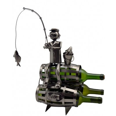 Fisherman on Barrels 3 Bottle Tabletop Wine Rack