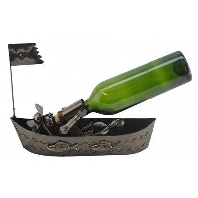 Pirate In Boat 1 Bottle Tabletop Wine Rack
