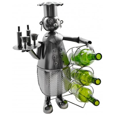 Chef Holding 3 Bottles Tabletop Wine Rack