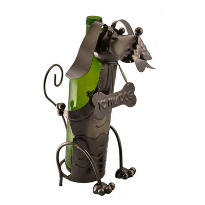 Dog with Bone Collar 1 Bottle Tabletop Wine Rack