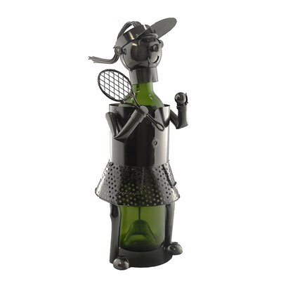 Woman Tennis Player 1 Bottle Tabletop Wine Rack