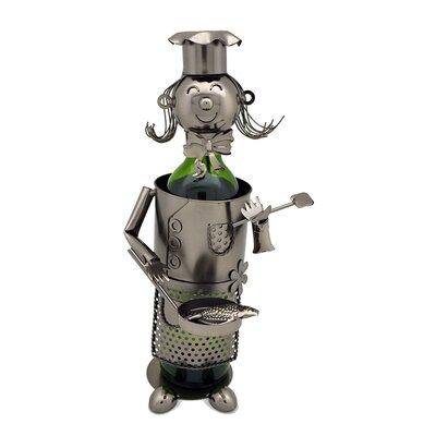 Barney Lady Chef/Pan 1 Bottle Tabletop Wine Rack