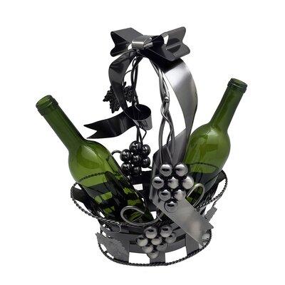 Basket Holding 2 Bottle Tabletop Wine Rack