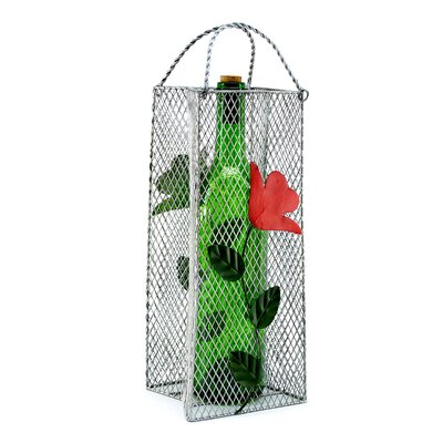 Gift Bag, Flowers 1 Bottle Tabletop Wine Rack