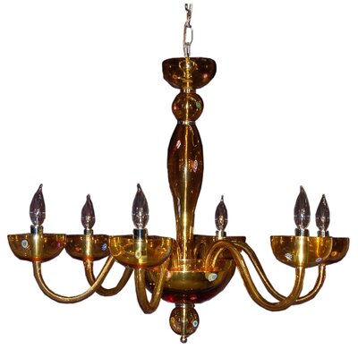 Frederick Authentic Glass 6-Light Candle Chandelier Finish: Amber