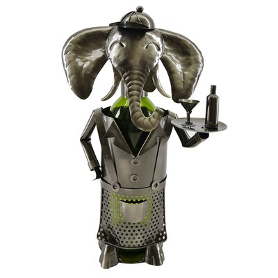 Elephant Waiter Metal 1 Bottle Tabletop Wine Bottle Rack