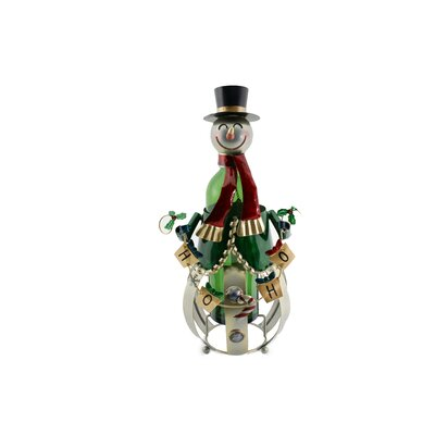 Metal Christmas Snowman 1 Bottle Tabletop Wine Bottle Rack