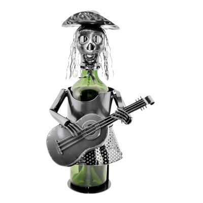 Mariachi Skeleton Day of the Dead Woman 1 Bottle Tabletop Wine Bottle Rack