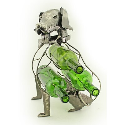 Foreside Sitting Dog 3 Bottle Tabletop Wine Holder