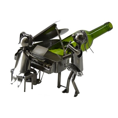 Jamel Piano Pianist and Singer Duo Performing Metal 1 Bottle Tabletop Wine Holder