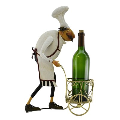 Barney Italian Chef with Serving Cart 1 Bottle Tabletop Wine Holder