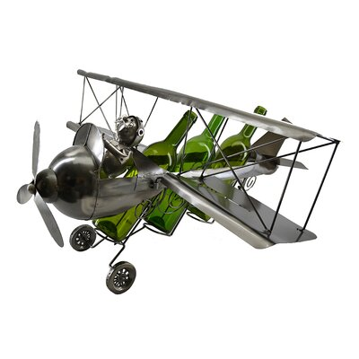 Rachel Pilot on Bi-Plane 3 Bottle Tabletop Wine Holder