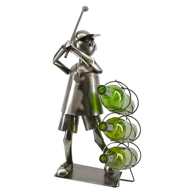Freeman Golf Player Standing 3 Bottle Tabletop Wine Bottle Holder