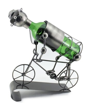 Stefany Happy Bicycle Rider Metal 1 Bottle Tabletop Wine Bottle Holder
