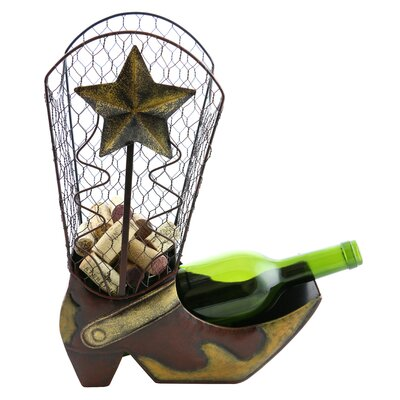 Cowboy Boot Cork 1 Bottle Tabletop Wine Rack