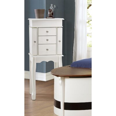 Cathy 3 Drawer Jewelry Armoire with Mirror Finish: White