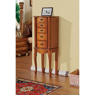 James 4 Drawer Jewelry Armoire with Mirror Finish: Oak