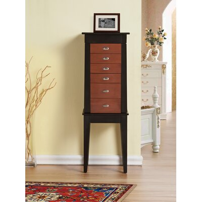 Terence 6 Drawer Jewelry Armoire with Mirror Finish: Brown