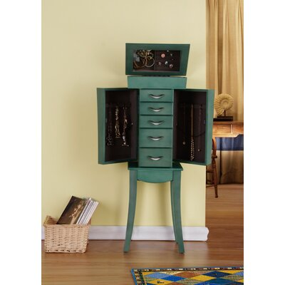 Mcbrayer 5 Drawer Jewelry Armoire- Sea Green