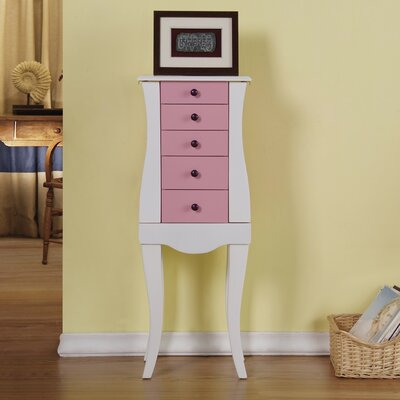 Veronica 4 Drawer Jewelry Armoire with Mirror Finish: Pink