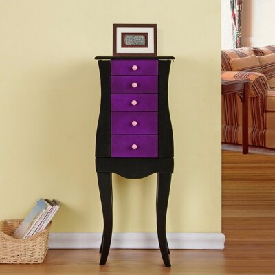 Veronica 4 Drawer Jewelry Armoire with Mirror Finish: Purple