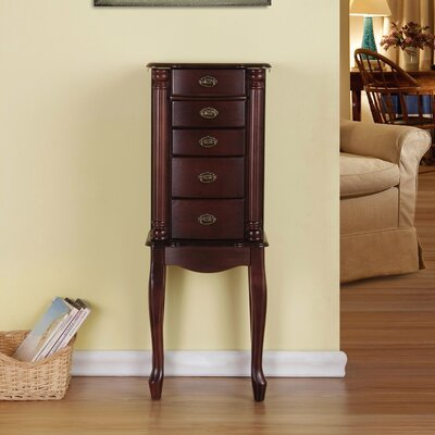 James 4 Drawer Jewelry Armoire with Mirror Finish: Cherry