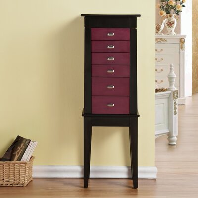 Terence 6 Drawer Jewelry Armoire with Mirror Finish: Purple